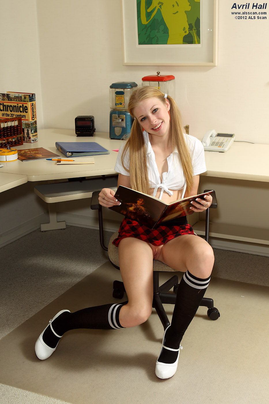 Avril Hall - Pigtailed Avril Hall Strips College Girl Outfit for Speculum Exam