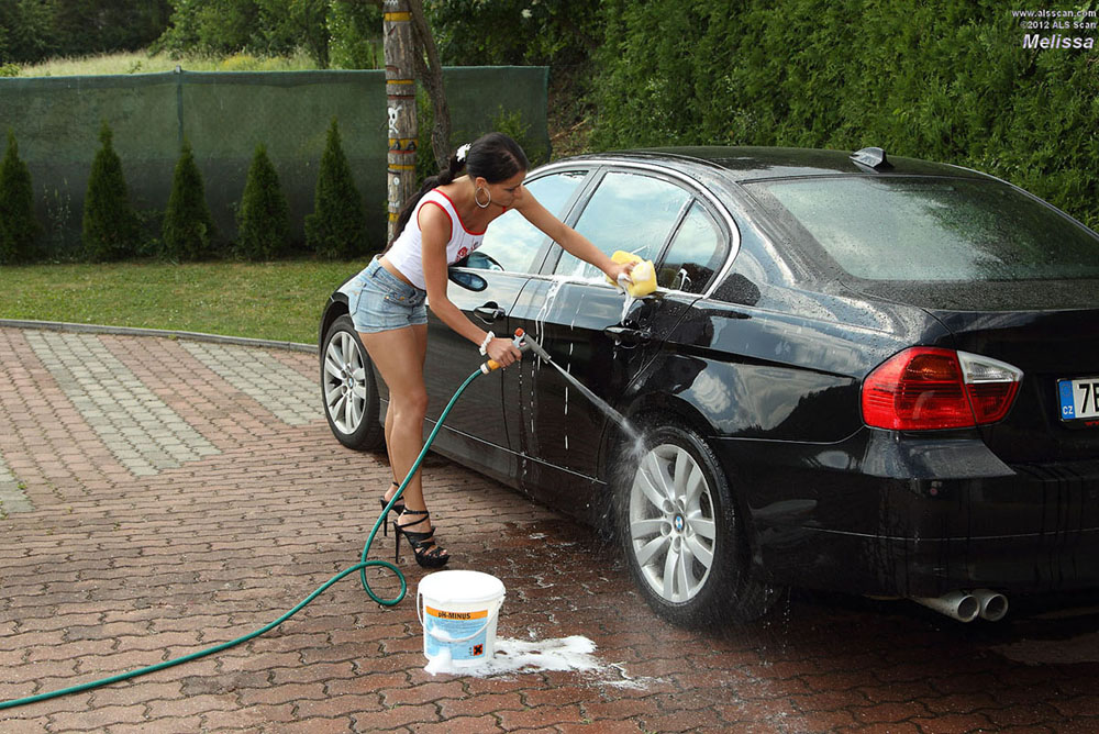 Melissa - After a Carwash Euro Babe Melissa Pleasures Herself