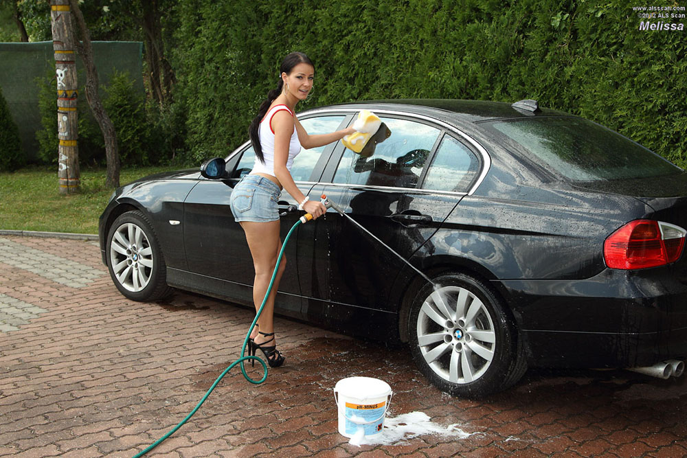 Melissa - After a Carwash Euro Babe Melissa Cools Her Pussy Off