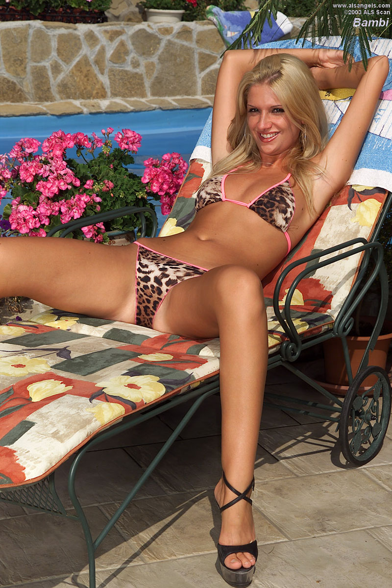 Bambi - Blonde Euro Babe Bambi in Bikini and Heels
