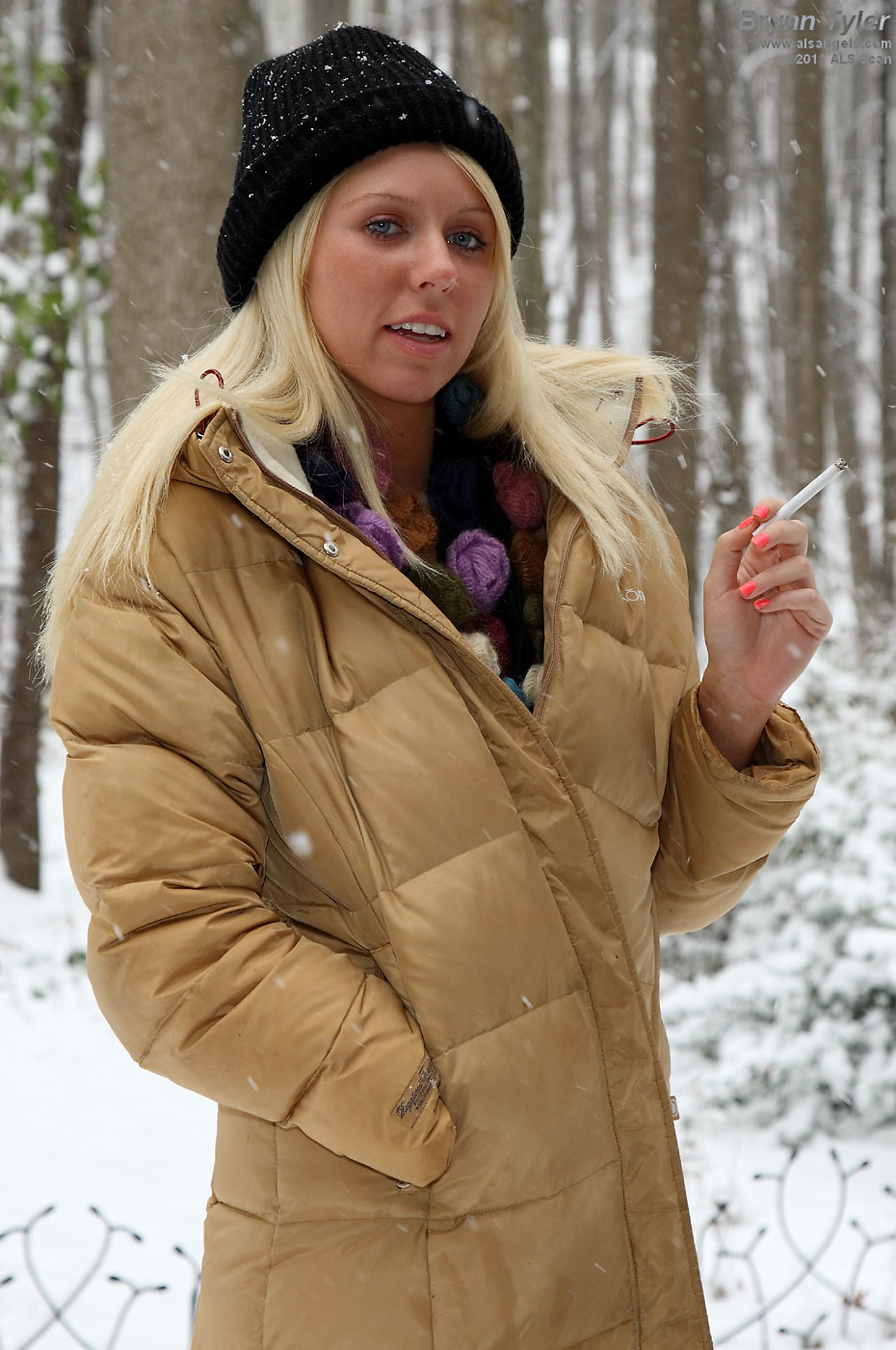 Brynn Tyler - Brynn Tyler Smoking and Toying with Beads in the Snow