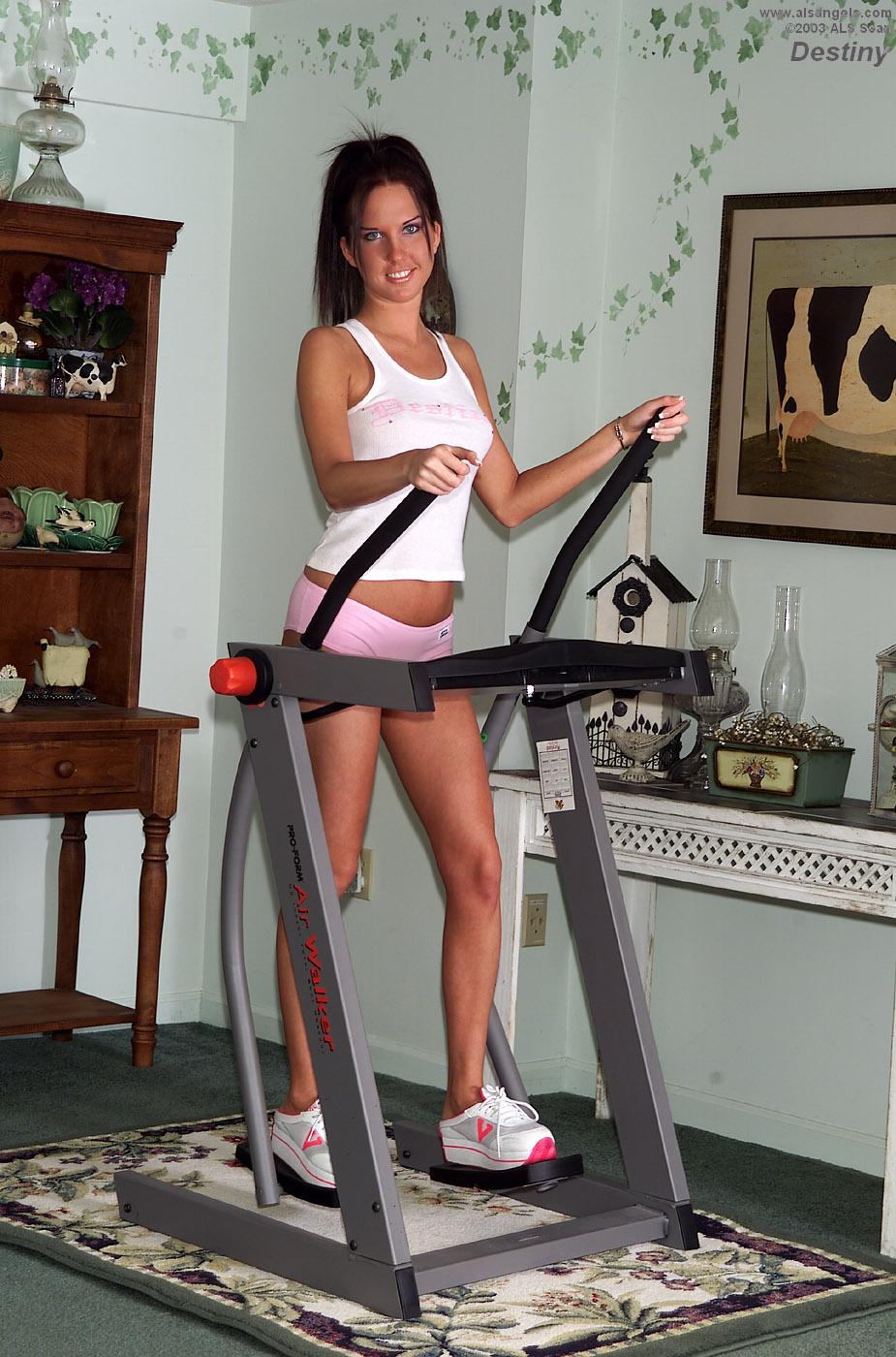 Destiny - Workout Babe Destiny Gives Cameltoe Then Strips