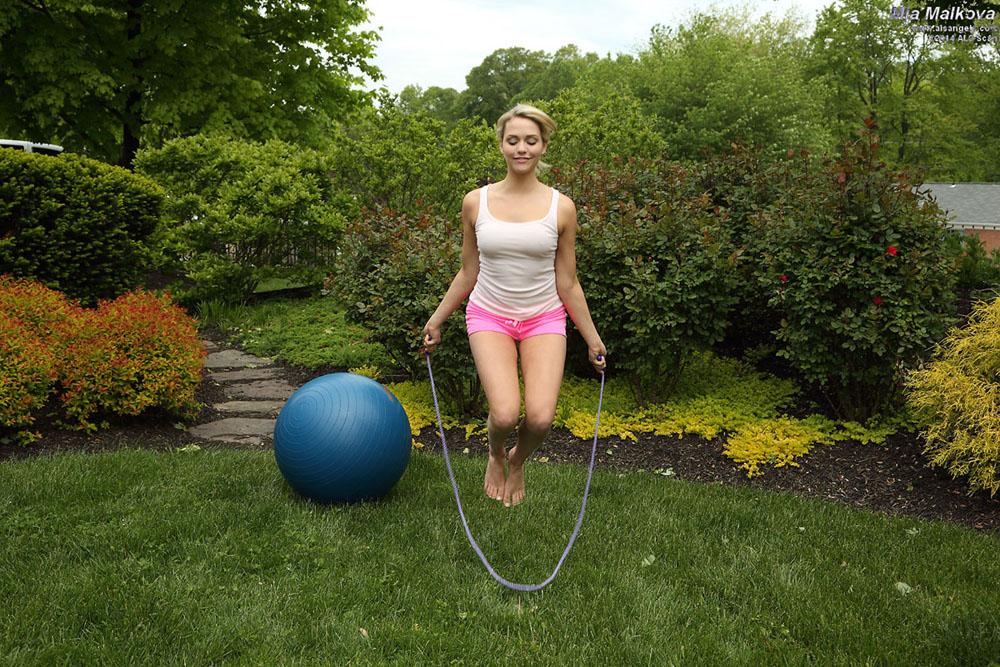 Mia Malkova - Flexible Mia Malkova Poses with Medicine Ball and Jump Rope