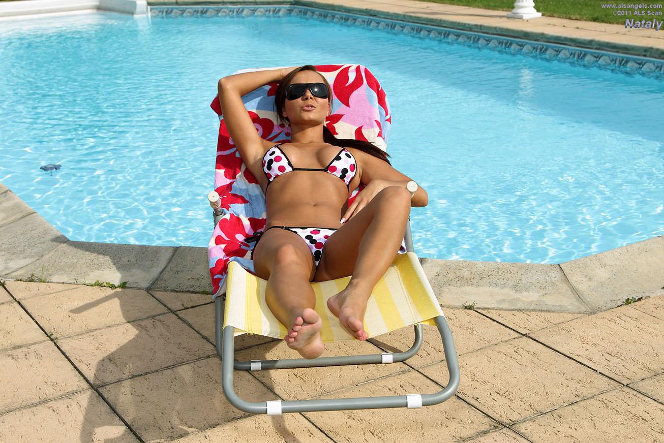 Nataly - Bikini Babe Nataly Strips Poolside