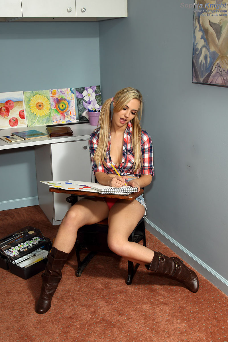 Sophia Knight - Sexy Student Sophia Knight Poses in the Classroom