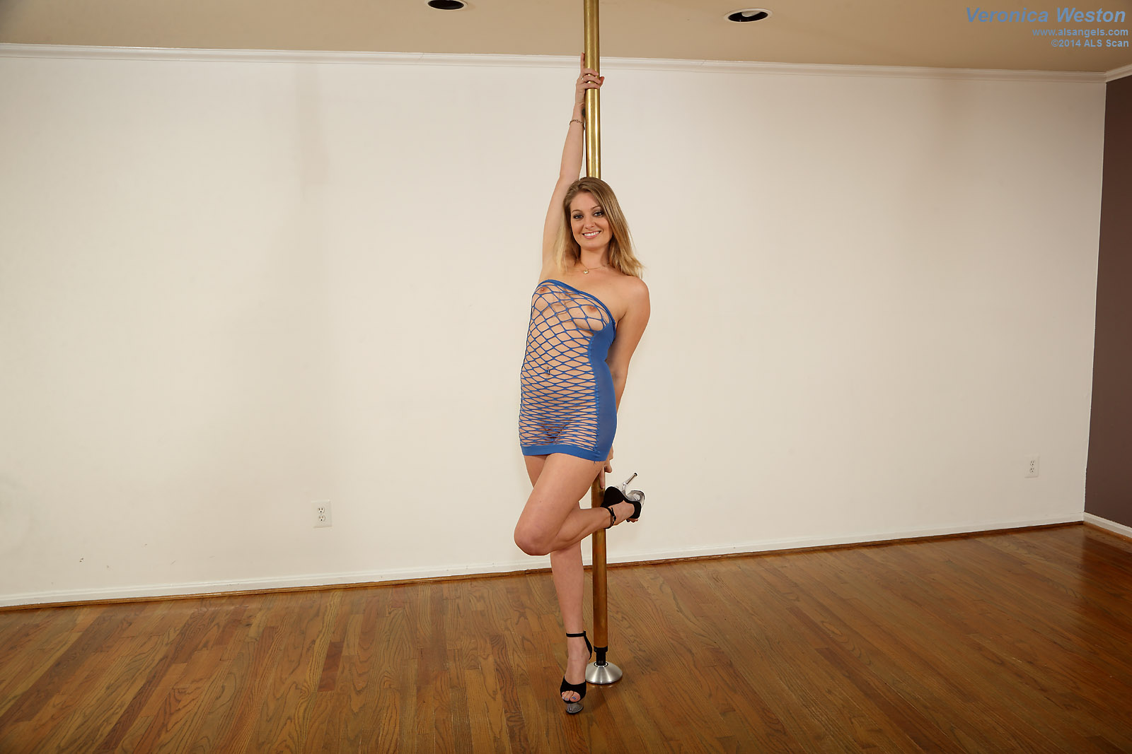 Veronica Weston - Babe Works a Stripper Pole in Mesh Dress and Heels