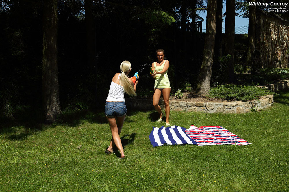Whitney Conroy, Lola - Whitney Conroy and Lola Share a Double Dildo Outside